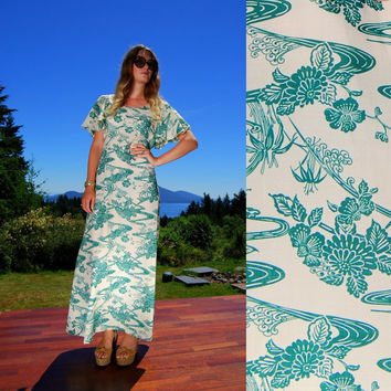 70's Hawaiian Maxi Dress, Made In Hawaii Green White floral Print, Flutter Sleeve Oriental Asian Novelty Print, Plus Size Full Length Dress