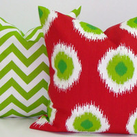CHRISTMAS PILLOW SET.Red. 18x18 inch Decorator Pillow Cover.Printed Fabric Front and Back.Holiday.Christmas Decoration.
