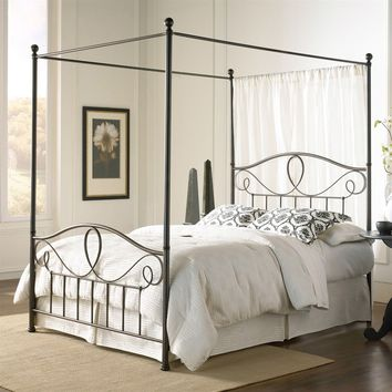Queen Size Complete Metal Canopy Bed with Scroll-work & Ball Finials