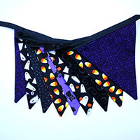Chevron Ghost Halloween Fabric Pennant Banner