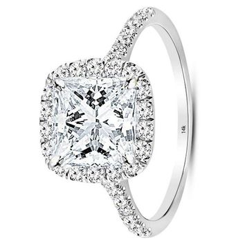 .2 Carat GIA Certified 14K White Gold Halo Princess Cut Diamond Engagement Ring (1.5 Ct J Color VS1 Clarity Center)