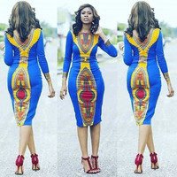 African Dashiki Blue Long Sleeve Midi Dress