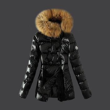 Moncler goose Warm Winter Down Jacket Windproof Hooded Collar Women's Parka Male Coat