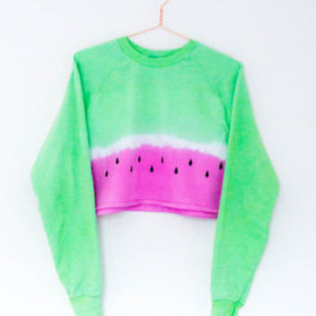 Tie Dye Watermelon Sweater Crop Top Jumper S/M/L/XL