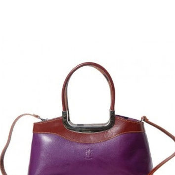 "HANDBAG ""ELEGANZA"" WITH DOUBLE HANDLE MADE OF GENUINE CALF LEATHER"