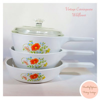 Vintage Corning Ware Wild Flower Skillet Dishes & Pot With Pyrex Lid / Corning Ware Collectibles / 1970s / Retro Kitchen/ Mid-Century Modern