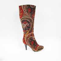 Vintage Velvet Paisley Boots 1990s Knee High Boots Carpet Print Tapestry Boots Baroque Bohemian Boots Boho Hippie Tall Boots Floral Size 6