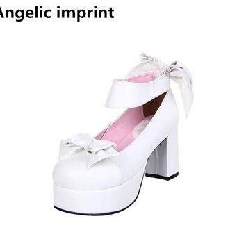 Angelic imprint handmade woman mori girl lolita cosplay shoes lady high heels pumps women princess dress party shoes 8cm 33-47