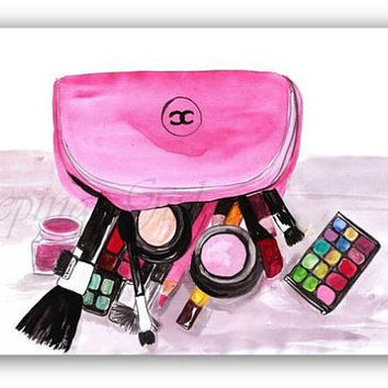Coco Chanel clutch pink, printable, watercolor painting, makeup fashion, wall art, home decoration, bag decals, room decor, bathroom print