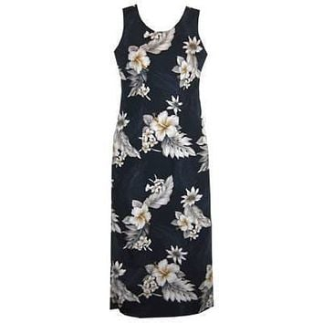 blueberry hawaiian long tank dress