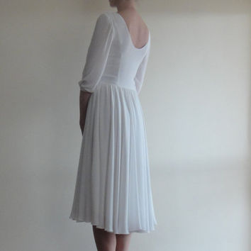 Crepe Chiffon Dress,Underlined with 100%Cotton,White Midi Dress,Wedding dress,Open Back Prom Dress,Bridesmaid Low back Long Sleeves Bridal