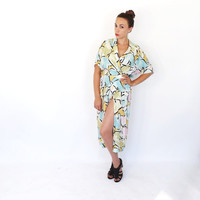 Vintage 1980s does 1940s Day Dress Abstract Floral Wiggle Dress Hipster Midi Dress Pin Up Girl Summer Sundress 80s Wrap Dress Medium