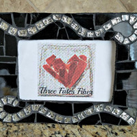 mosaic picture frame - glass - 4 x 6 picture frame - black and silver glass - art deco - black glass - silver glass