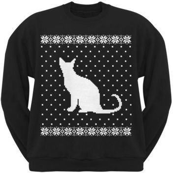 PEAPGQ9 Big Cat Ugly Christmas Sweater Black Crew Neck Sweatshirt
