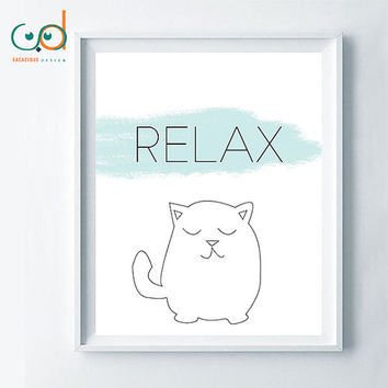 Relax cat printable, relax quote wall decor design, cat minimalist print design, zen poster, relaxing wall decor, minimalist typography zen