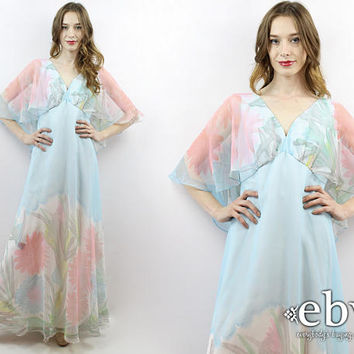 Ethereal Dress Hippie Dress Hippy Dress Floral Maxi Dress 1970s Dress 70s Cape Dress Prom Dress Whimsical Dress Vintage Wedding Dress M L