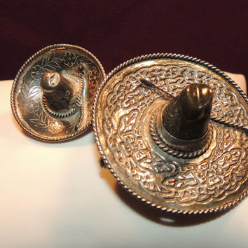 Sterling Silver Carved Onyx Sombrero Signed Mexican Brooches