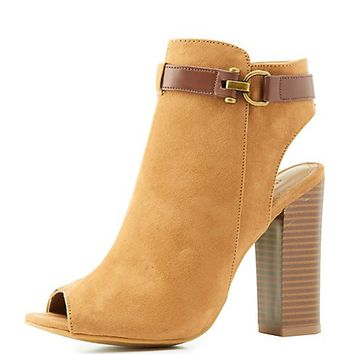 Bamboo Peep Toe Belted Ankle Booties