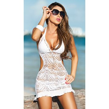 White Crochet Lace Ruffle Bottom Beach Dress Cover Up