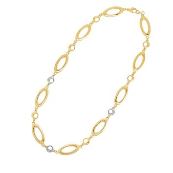 14K Yellow Gold 11.2mm 0.13ct.Dia.Oval+Yellow Circle+Diamond Circle Link Fancy Necklace with Lobster Clasp