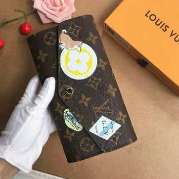 LV High Quality Fashion Women Retro Monogram Leather Buckle Wallet Purse