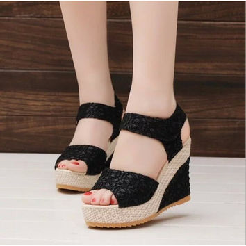 Women Summer Shoes of New Open Toe Fish Head High Heels Fashion Wedge Sandals