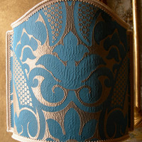 Venetian Lamp Shade Rubelli Sir Francis Blue and Gold Crinkled Damask Fabric Half Lampshade - Handmade in Italy
