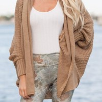 Streetstyle  Casual Khaki Irregular Turndown Collar Long Sleeve Casual Cardigan Sweater