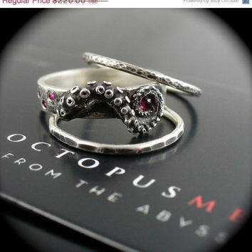 SUMMER SALE Reverse Set Ruby and Sapphire Stacking Rings, Stacker Rings, Octopus Jewelry, Tentacle Rings