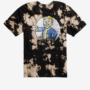 Fallout Vault Boy Logo Bleach Wash T-Shirt
