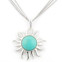 Sterling Silver Turquoise Sunshine Pendant Necklace , 18
