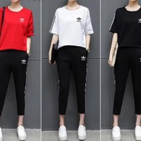 """Adidas"" Women Sport Casual Stripe Short Sleeve Trousers Set Two-Piece Sportswear"