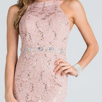 Keyhole Back Taupe Lace Fitted Cocktail Dress Rhinestone Waist