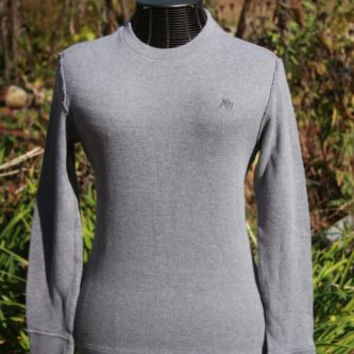 Men's Aeropostale Thermal Graphic Shirt Long Sleeves Grey A87 Size SP