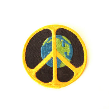 WORLD PEACE vintage earth peace sign PATCH embroidered circle patch for jacket, hat, bag, etc