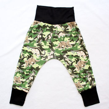 Dinosaur Camo Soft Knit Harem Pants Size 2-3T only