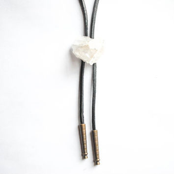 Raw quartz crystal cluster bolo necklace / bolo tie, leather and crystal necklace | Gift wrapped