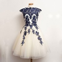 Navy Blue Lace Appliques over Ivory Tulle Short Knee Length Graduation Party Dress