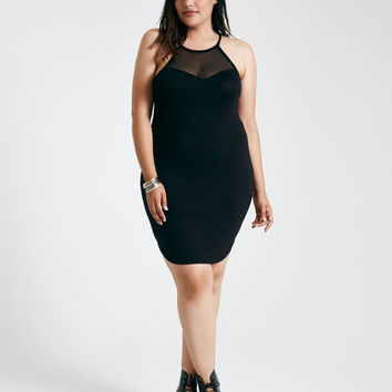 Plus Size Sleeveless Mesh-Inset Shirttail Mini Dress | Wet Seal Plus