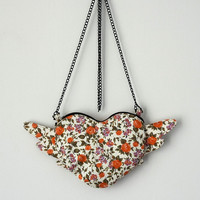 Floral Orange Purse Chain Purse Pastel Orange Small Bag Heart Purse Winged Heart Floral Print Mini Purse Boho Chic Shabby Chic Romantic