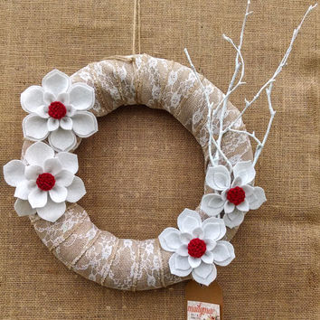 Christmas felt flower wreath, burlap lace felt wreath, holiday wreath, red & white flower wreath, large 14 inch size, READY TO SHIP