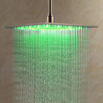 Ouku® Stainless Steel Rainfall Shower Head 12 Inch Bathroom Square LED Shower Head Fixed Wall Mount Shower Head Without Shower Arm Thin Big Lavatory Shower Head Ceiling Mount