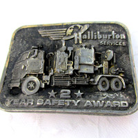 Trucker Belt Buckle Halliburton Year Safety Award Oil Truck Vintage Collectible Gift Item 1774