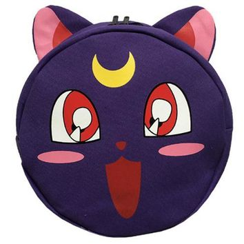 Japanese Anime Bag  Sailor Moon Harajuku Canvas Backpacks Cartoon 3D Luna Cat Round Style School Bags Cute Book Bag Rucksack Mochila Feminina AT_59_4