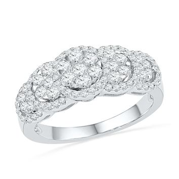 10kt White Gold Womens Round Diamond Flower Cluster Ring 5/8 Cttw