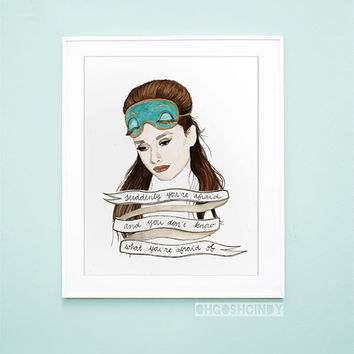 Breakfast at Tiffany's Audrey Hepburn Holly Golightly watercolour portrait PRINT