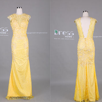 Yellow Cap Sleeve Lace Applique Open Back Mermaid Prom Dress/Sexy Mermaid Evening Gown/Long Mermaid Prom Dress/Wedding Dress DH374