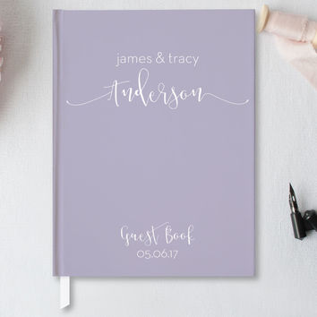 Wedding Guest Book, Hardcover Wedding Guestbook - 5x7 or 8x10 Guest Book - Choice of Colors - GB-BB