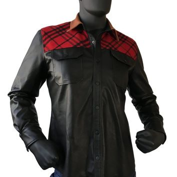 Lightweight Leather Shirt With Wool Trimming Style #705 MENS