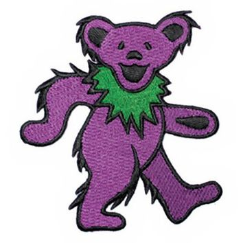 Grateful Dead Iron-On Patch Dancing Bear Purple Large